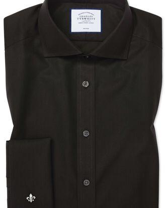 Chemise noire en popeline slim fit  sans repassage à col cutaway