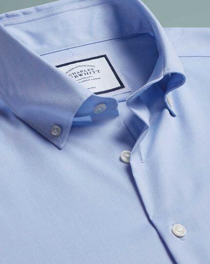 Chemise business casual bleu ciel slim fit sans repassage à col boutonné