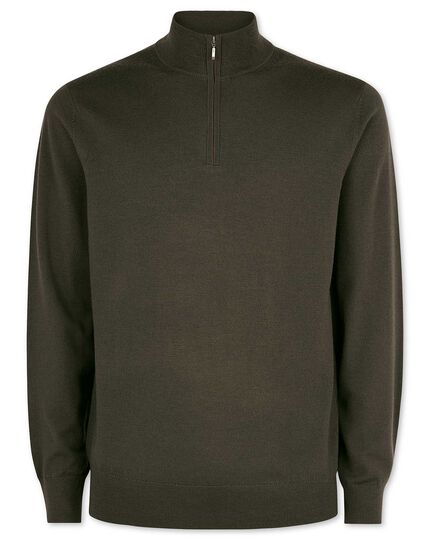 Olive merino wool zip neck sweater