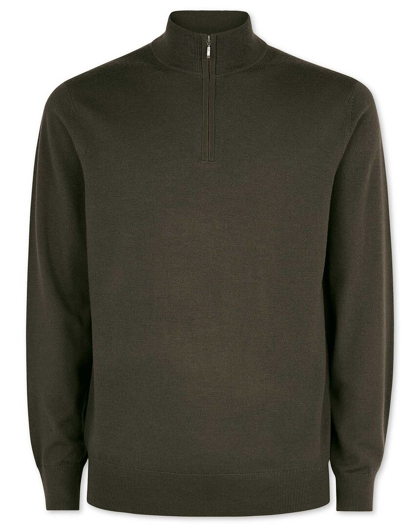 Olive merino wool zip neck jumper