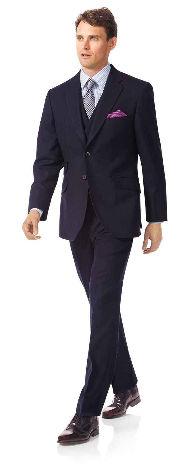 Navy classic fit British luxury suit