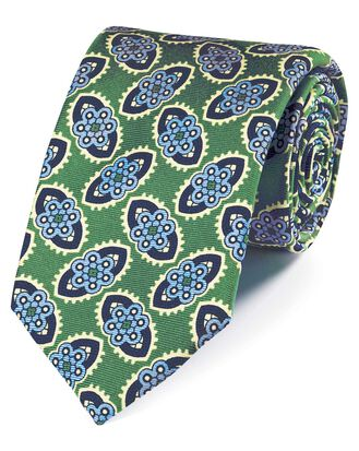 Green and blue silk floral print English luxury tie