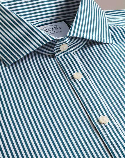 Slim fit non-iron spread collar teal twill stripe shirt