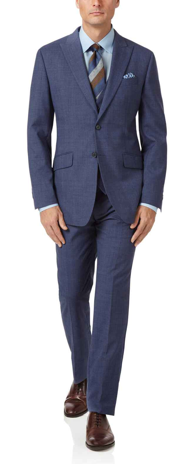Costume business bleu acier en Panama slim fit à carreaux