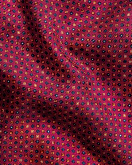 Mini Geometic Print Pocket Square - Berry & Orange