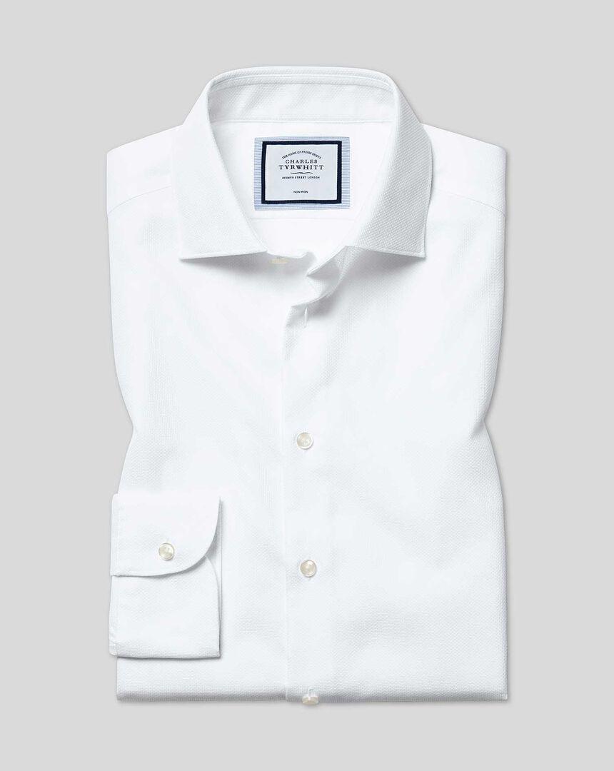 Bügelfreies Stretch-Baumwollhemd mit Business-Casual-Kragen - Weiß