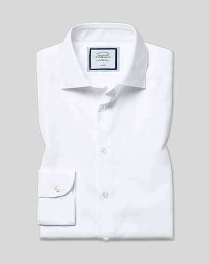 Chemise coton stretch à col business casual sans repassage - Blanc