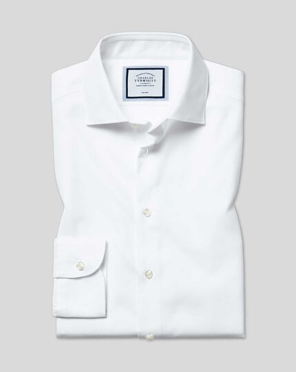 Business Casual Collar Non-Iron Cotton Stretch Shirt - White