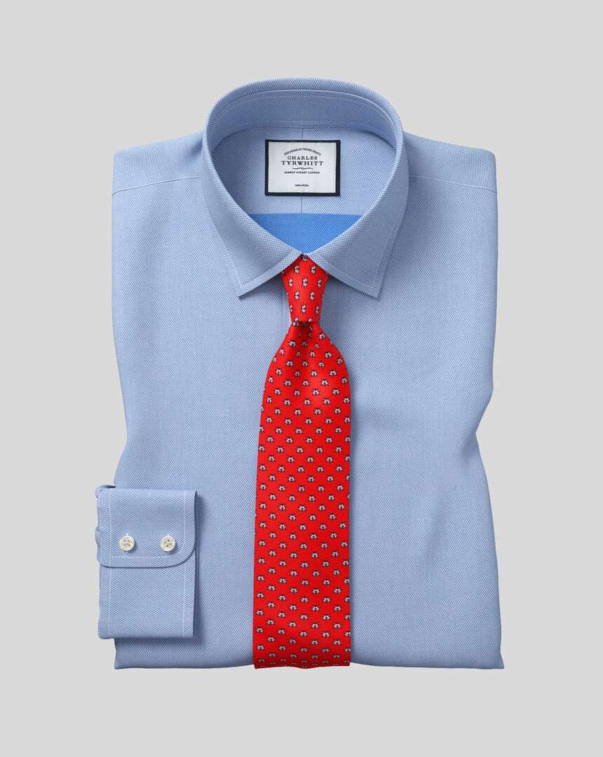 Classic Collar Non-Iron Micro Diamond Shirt - Blue