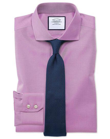Extra slim fit spread collar non-iron twill violet shirt