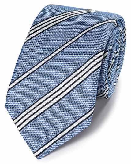 Blue silk grenadine stripe italian luxury tie