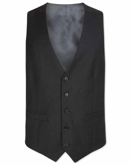 Charcoal adjustable fit twill business suit waistcoat