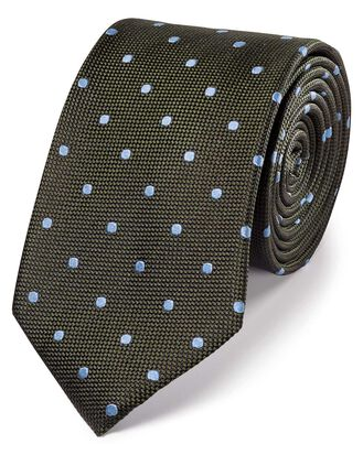 Olive and sky silk spot classic tie