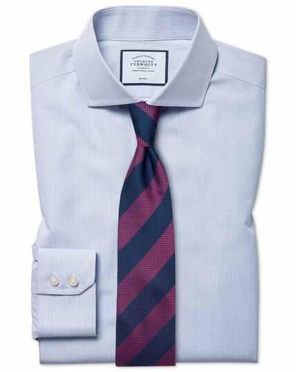 Blauw, strijkvrij gestreept natuurlijk fris overhemd met klassieke pasvorm