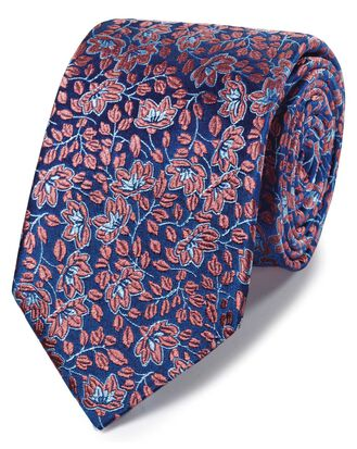 Coral silk floral English luxury tie