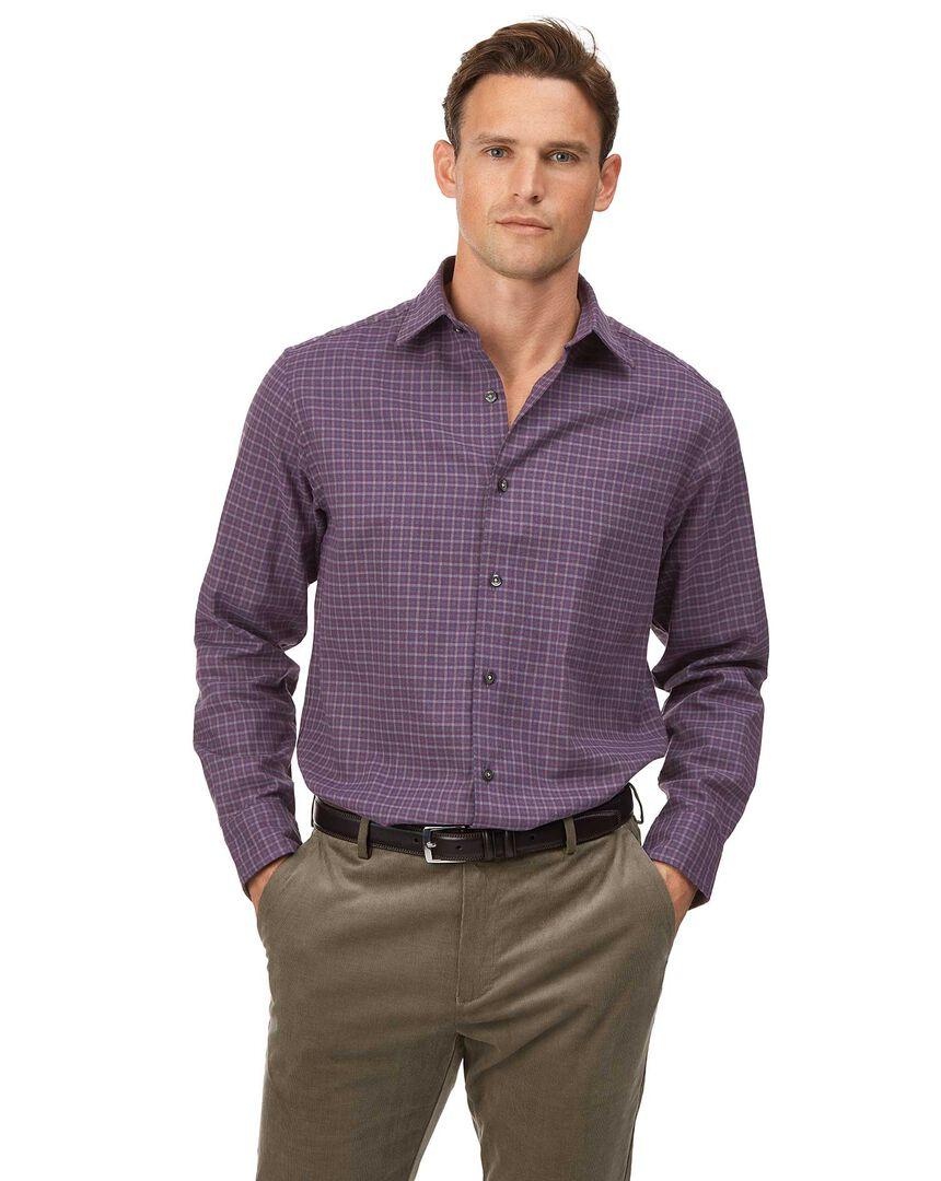Classic fit cotton with TENCEL™ purple multicheck shirt