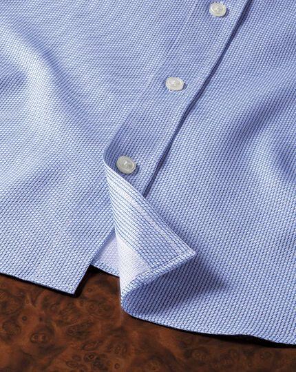 Extra Slim Fit Hemd aus ägyptischer Baumwolle in Mittelblau mit Diamant-Struktur