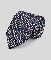 Cravate classique en soie avec imprimé glaces - Bleu marine à motif