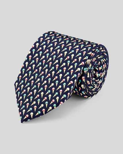 Ice Cream Silk Print Classic Tie - Navy Multi
