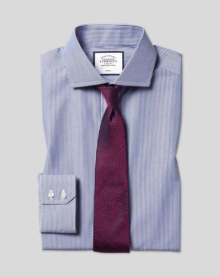 Chemise à rayures Bengale et col cutaway sans repassage - Bleu marine