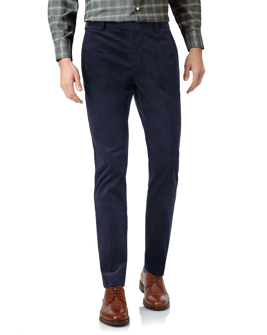 Bright navy needle cord trousers