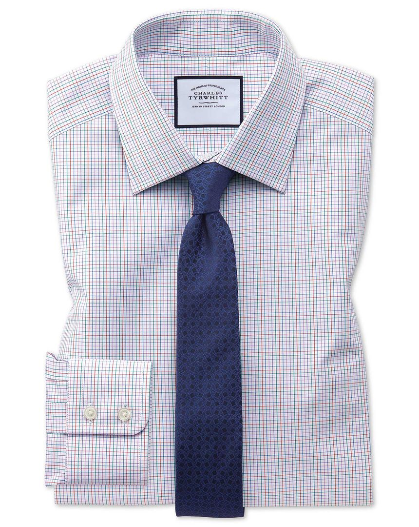 Extra slim fit pink multi check Egyptian cotton shirt