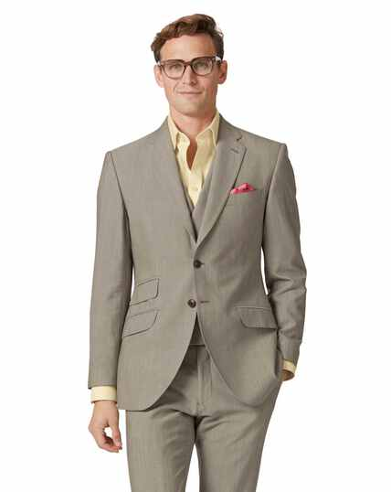 Natural Panama slim fit British suit jacket