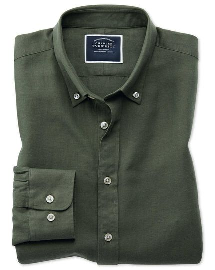 Slim fit olive cotton linen twill shirt