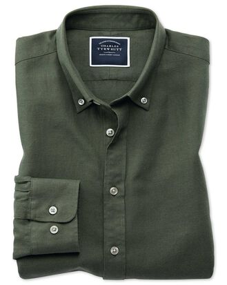 Classic fit olive cotton linen twill shirt