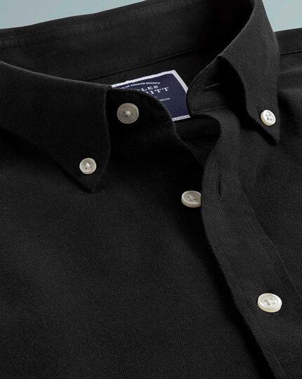Chemise noire unie en twill de coton et lin coupe droite