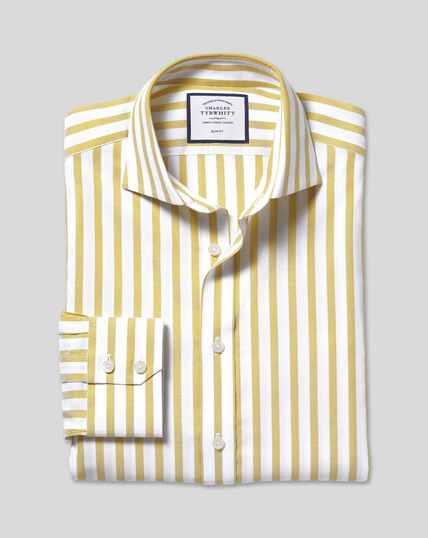 Spread Collar Cotton Stretch with TENCEL™ Stripe Shirt - Chartreuse