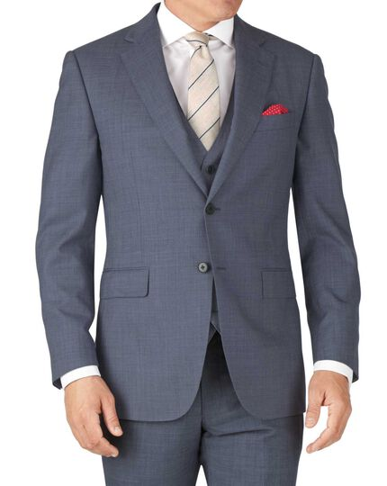 Light blue slim fit sharkskin travel suit jacket