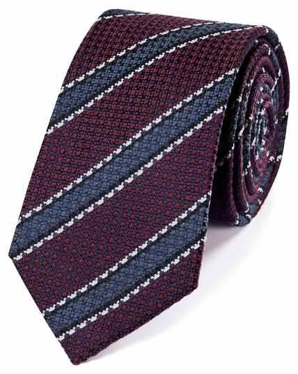 Burgundy wool and silk stripe classic tie