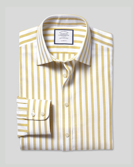 Cotton Stretch with TENCEL™ Stripe Shirt - Chartreuse