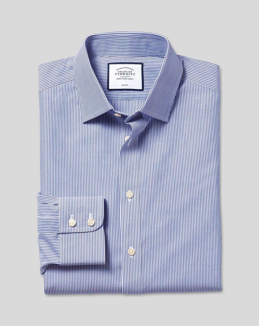 Bügelfreies Hemd mit Kent-Kragen und Bengal-Streifen - Marineblau