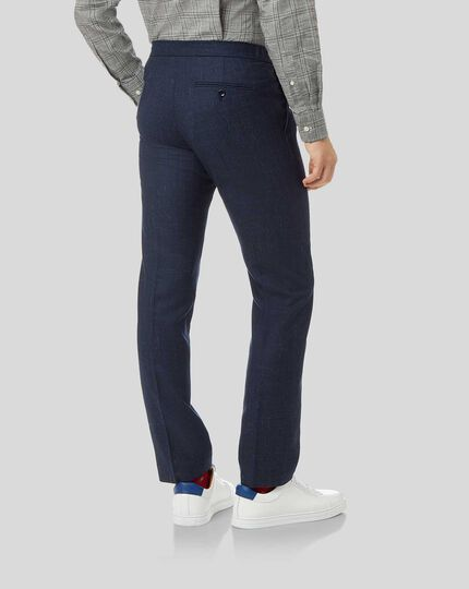 Textured Wool Blend Suit Drawstring Trousers - Navy