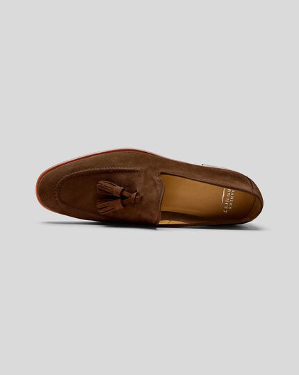 Suede Flexible Tassel Loafer - Tan
