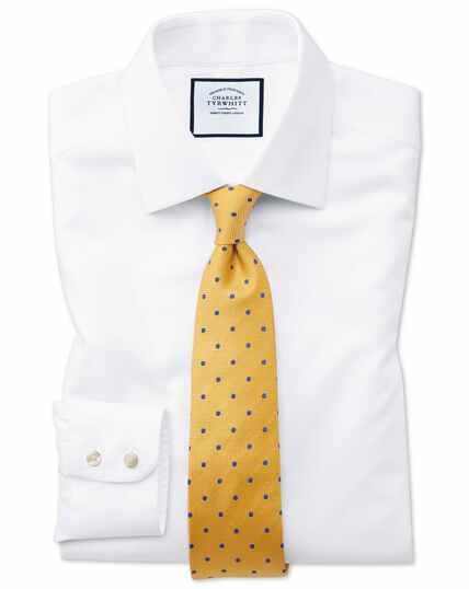Extra slim fit non-iron white arrow weave shirt