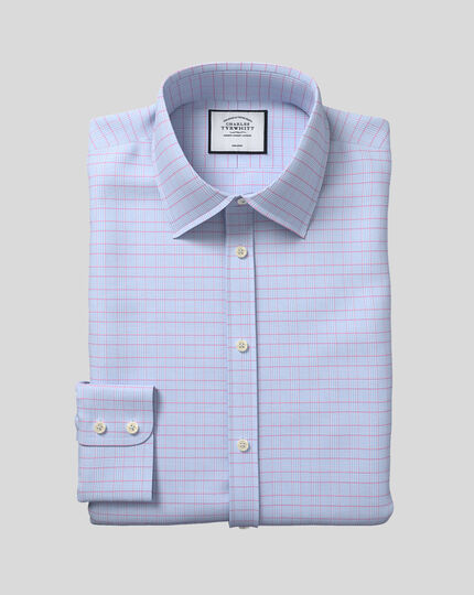 Classic Collar Non-Iron Prince of Wales Check Shirt - Blue & Pink