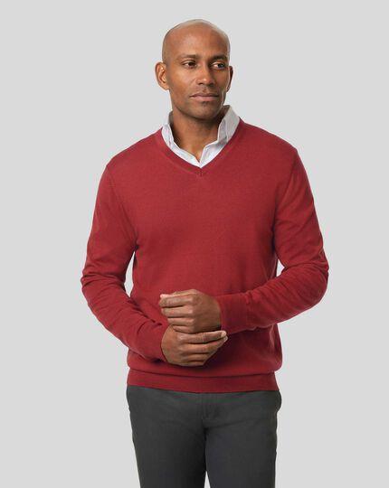 Merino V-Neck Sweater - Brick Red