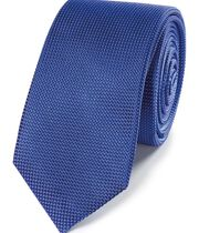 Royal blue mini pindot slim tie