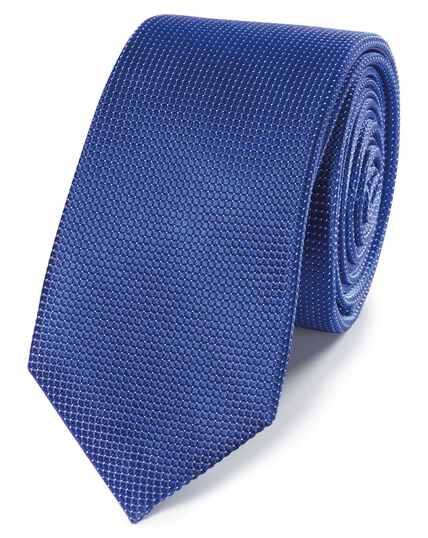Cravate slim bleu roi à micro pois
