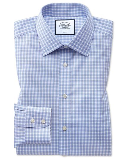 Classic fit non-iron twill sky blue gingham shirt
