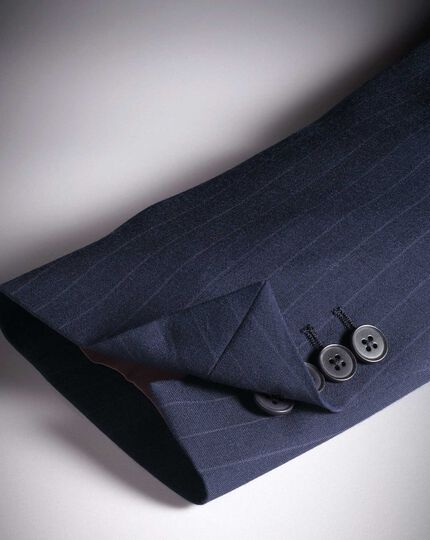 Slim Fit Businessanzug-Sakko aus Panama-Gewebe mit Streifen in Marineblau
