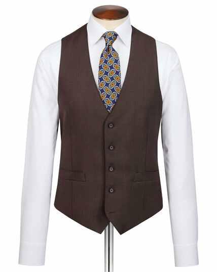 Brown slim fit birdseye travel suit vest