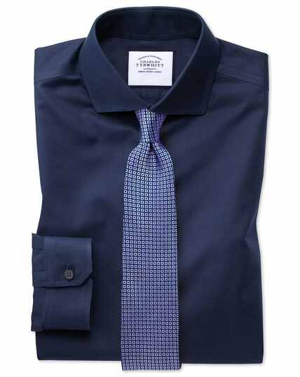 Super slim fit navy non-iron twill shirt