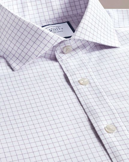 Extra slim fit non-iron cutaway collar lilac fine check shirt