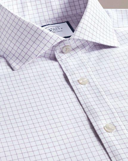 Bügelfreies Extra Slim Fit Hemd mit kleinem Karomuster und Haifischkragen in Lila