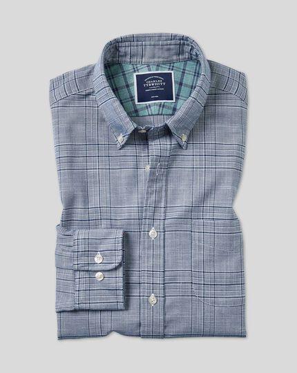 Vorgewaschenes bügelfreies Twill Hemd mit Button-down-Kragen und Karos - Marineblau