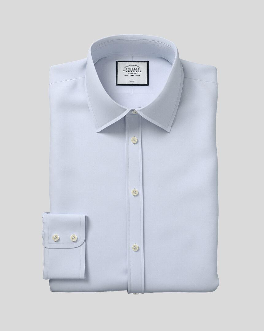 Bügelfreies Twill Hemd mit klassischem Kragen - Silber